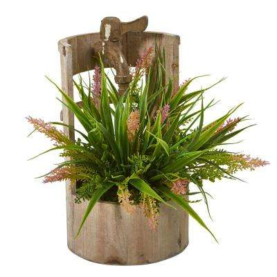 12 in. Grass Artificial Plant in Faucet Planter