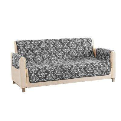 Aime Water Resistant Grey Fit Polyester Fit Sofa Slip Cover