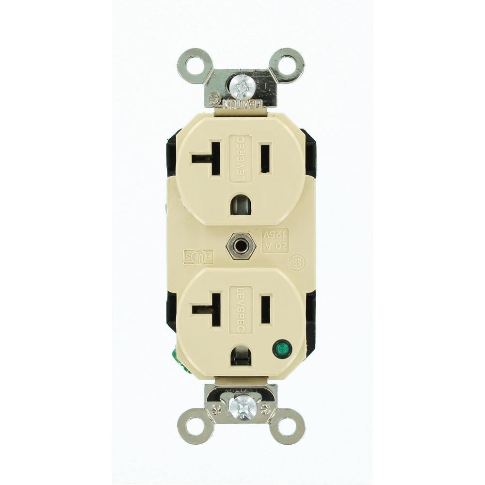 Leviton 20 Amp Commercial Grade Duplex Outlet, Ivory-R51-CBR20-00I ...