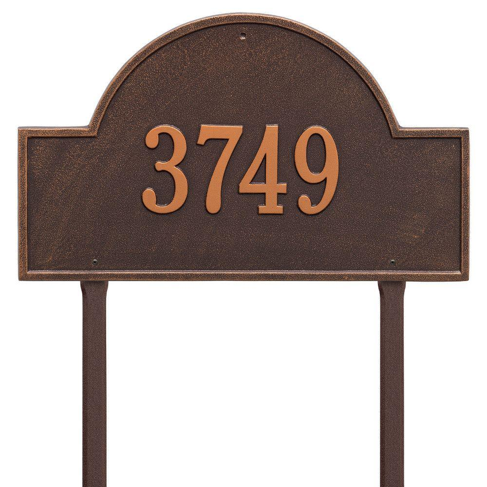 Arch Marker Estate Antique Copper Lawn 1-Line Address Plaque