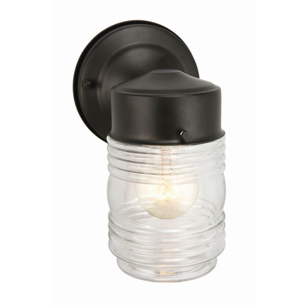 Black Outdoor Wall-Mount Jelly Jar Wall Light