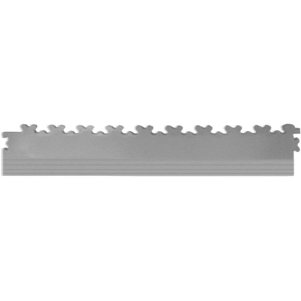 IT-tile 20-1/2 in. x 2-1/2 in. Diamond Plate Light Gray PVC Tapered Interlocking Multi-Purpose Flooring Tile Edges (4-Pack)