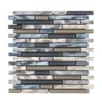 Out to Sea Blue 11.5 in. x 11.75 in. Interlocking Mixed Glass and Metal Mosaic Tile (0.928 sq. ft./Each)