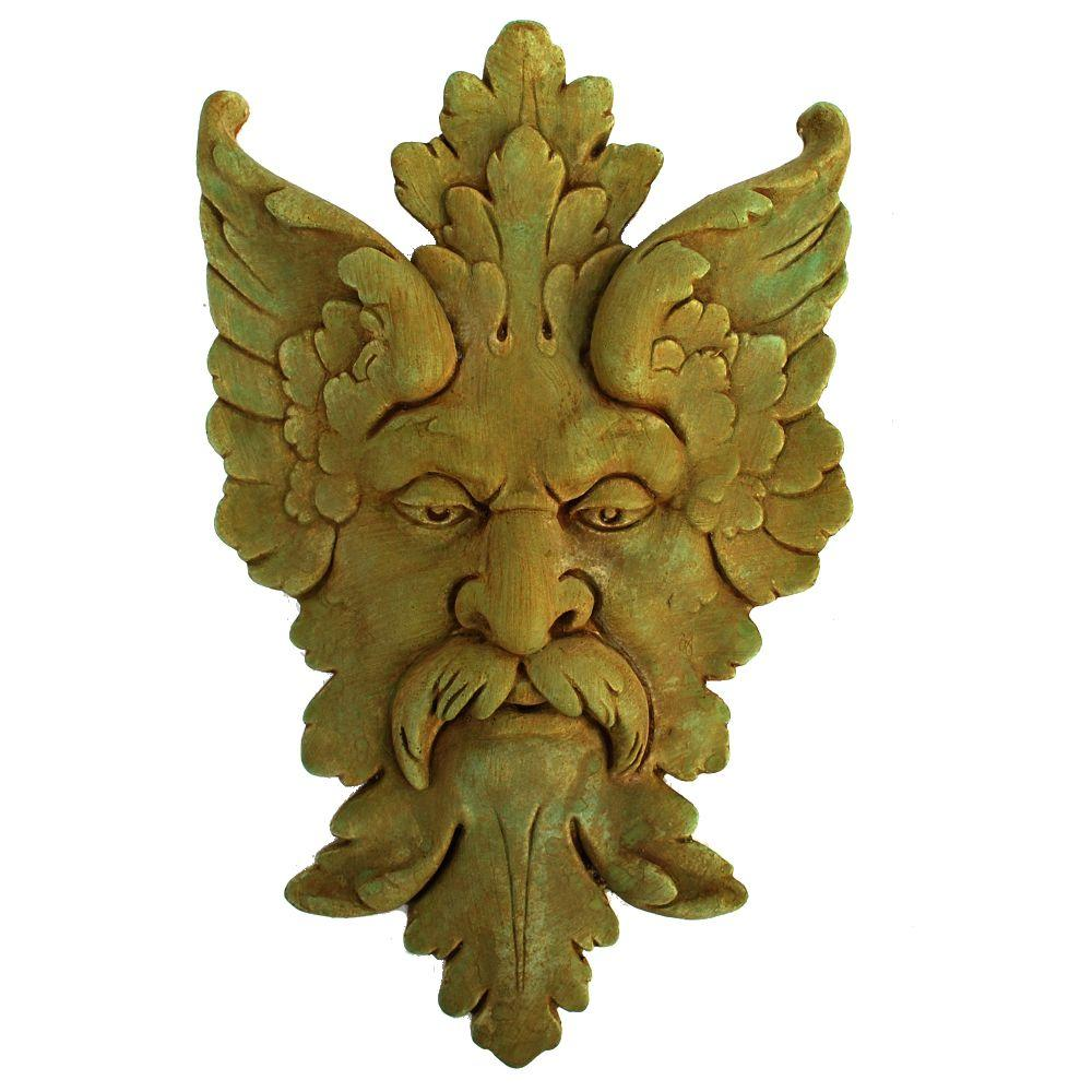 Cast Stone Michelangelo Leaf Mask Plaque Weathered Bronze