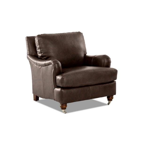 Charlotte Leather Chestnut Accent Chair