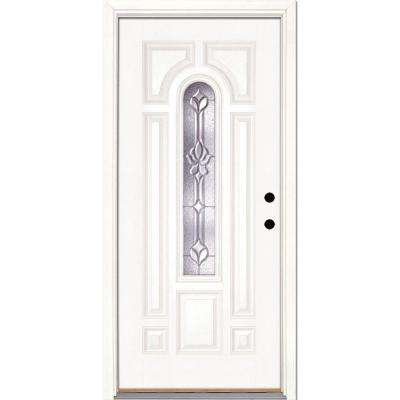 37.5 in. x 81.625 in. Medina Zinc Center Arch Lite Unfinished Smooth Left-Hand Inswing Fiberglass Prehung Front Door