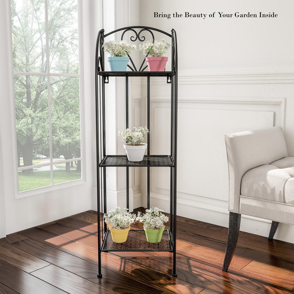 3-Tier Black Metal Decorative Folding Vertical Plant Stand Display