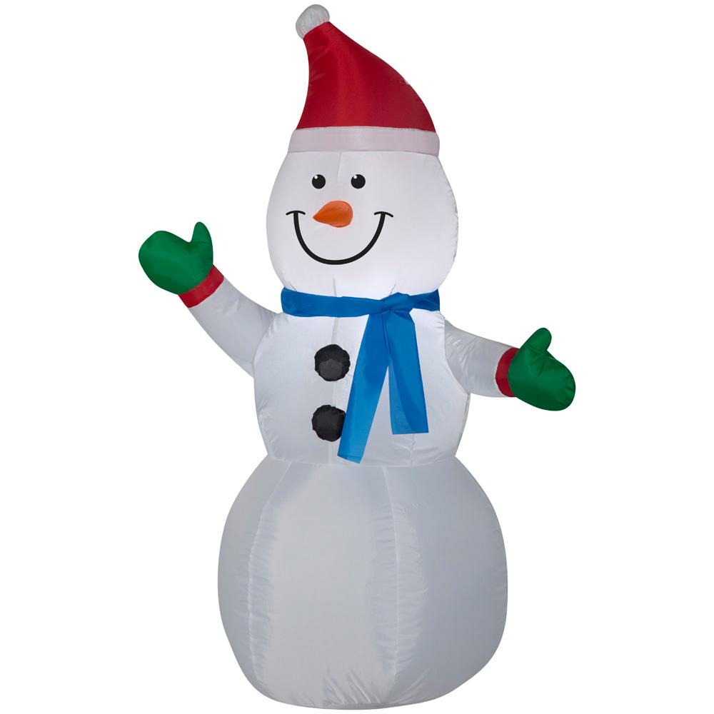 Home Accents Holiday 3.51 ft. Pre-lit Inflatable Snowman Airblown ...