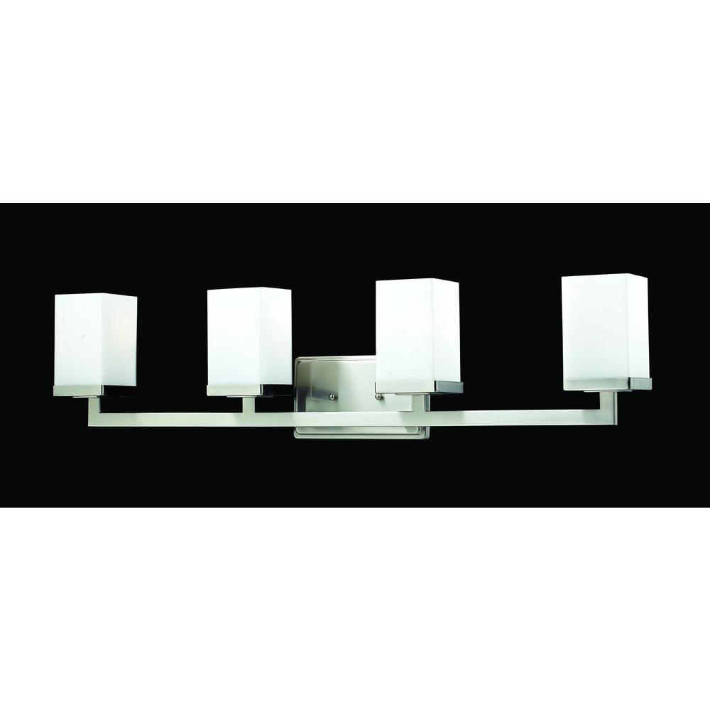 Phebe 4-Light Brushed Nickel Flushmount Vanity Light with Matte Opal Glass