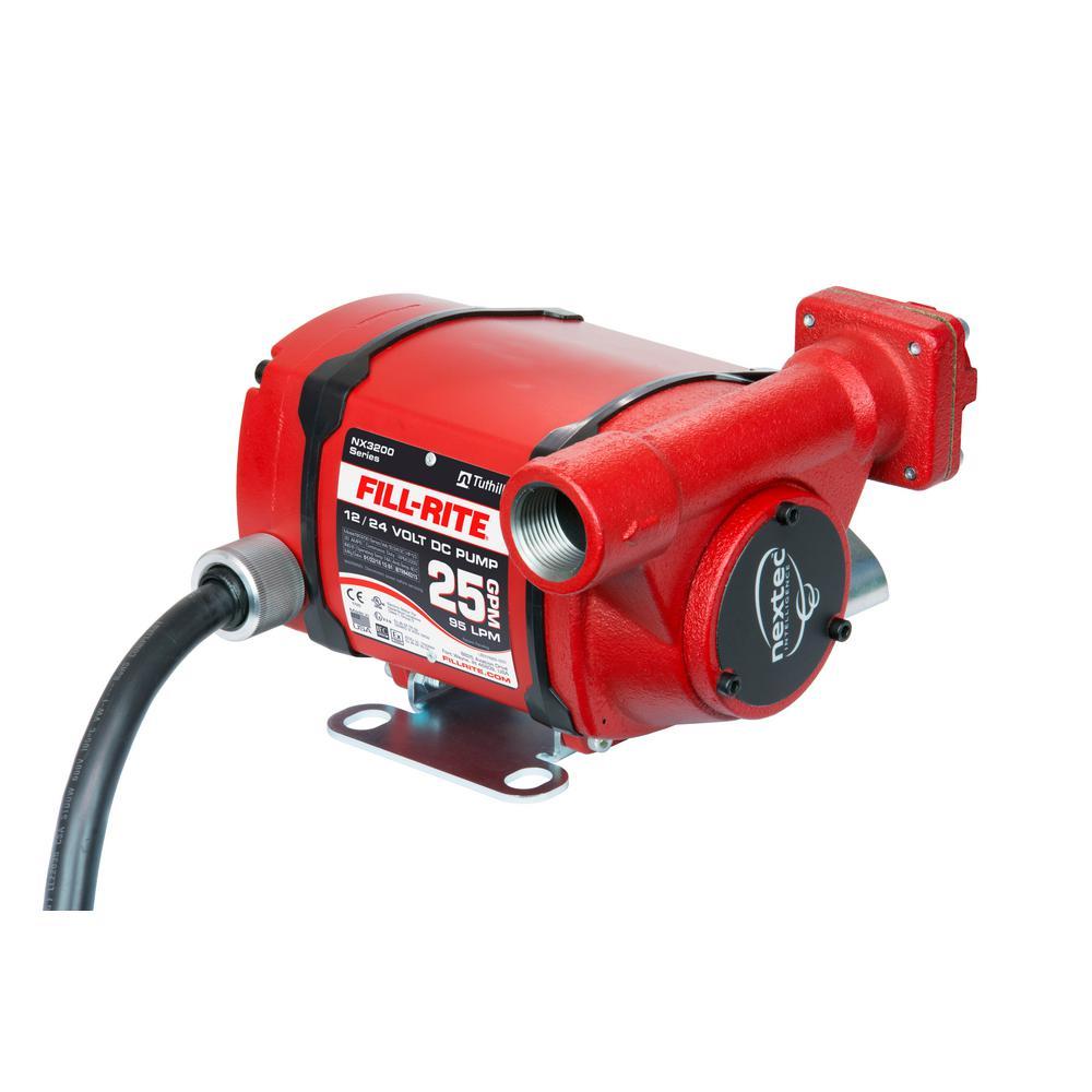 12-Volt/24-Volt 25 GPM 1/3 HP Nextec Fuel Transfer Pump (Pump Only w/Foot Mount)