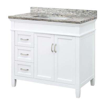 Ashburn 37 in. W x 22 in. D Vanity in White with Granite Vanity Top in Santa Cecilia with White Sink