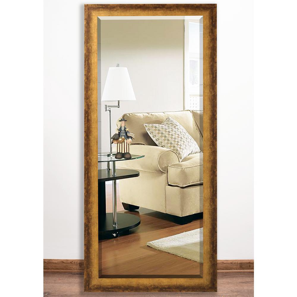 32 in. x 65.5 in. Tarnished Bronze Beveled Body Mirror