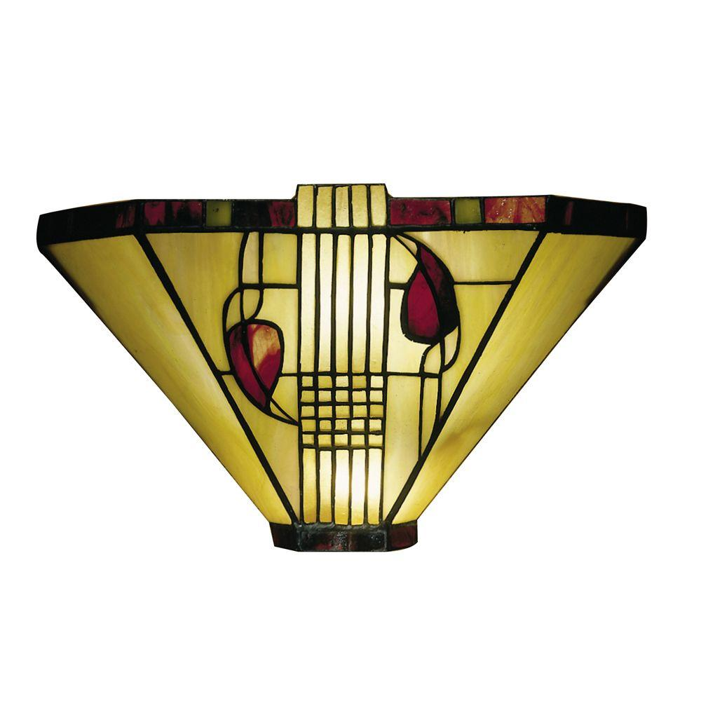 Dale Tiffany Henderson 1-Light White Sconce with Art Glass Shade ...