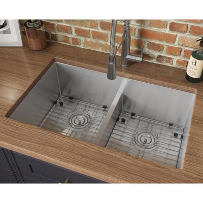 Undermount Stainless Steel 30 in. 50/50 Low Divide Double Bowl 16-Gauge Kitchen Sink