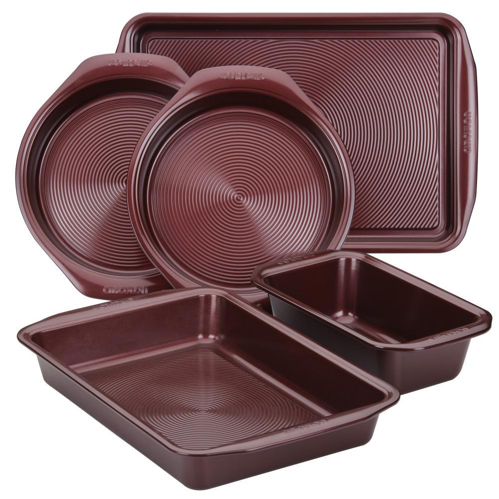 Nonstick Bakeware 5-Piece Bakeware Set, Merlot