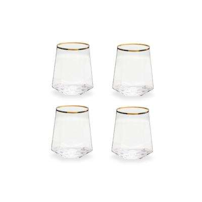 Bubbly Bar 13 oz. Geometric Glasses (Set of 4)