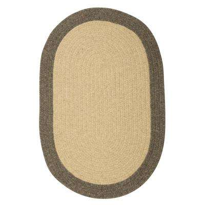 North Beige 8 ft. x 11 ft. Braided Oval Area Rug