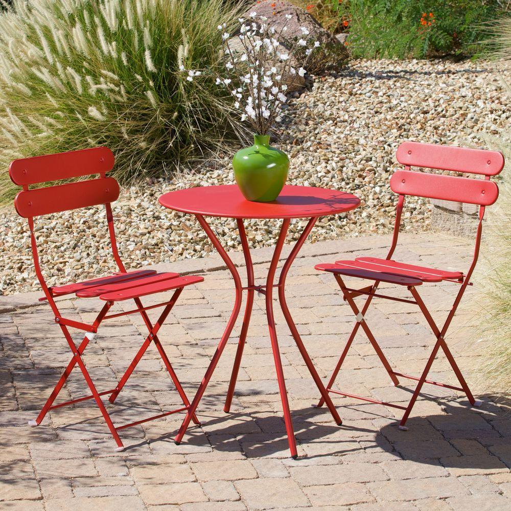 rst brands sol red 3 piece patio bistro set op bs3 sol r the home depot. Black Bedroom Furniture Sets. Home Design Ideas