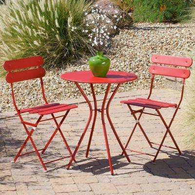 Sol Red 3-Piece Patio Bistro Set
