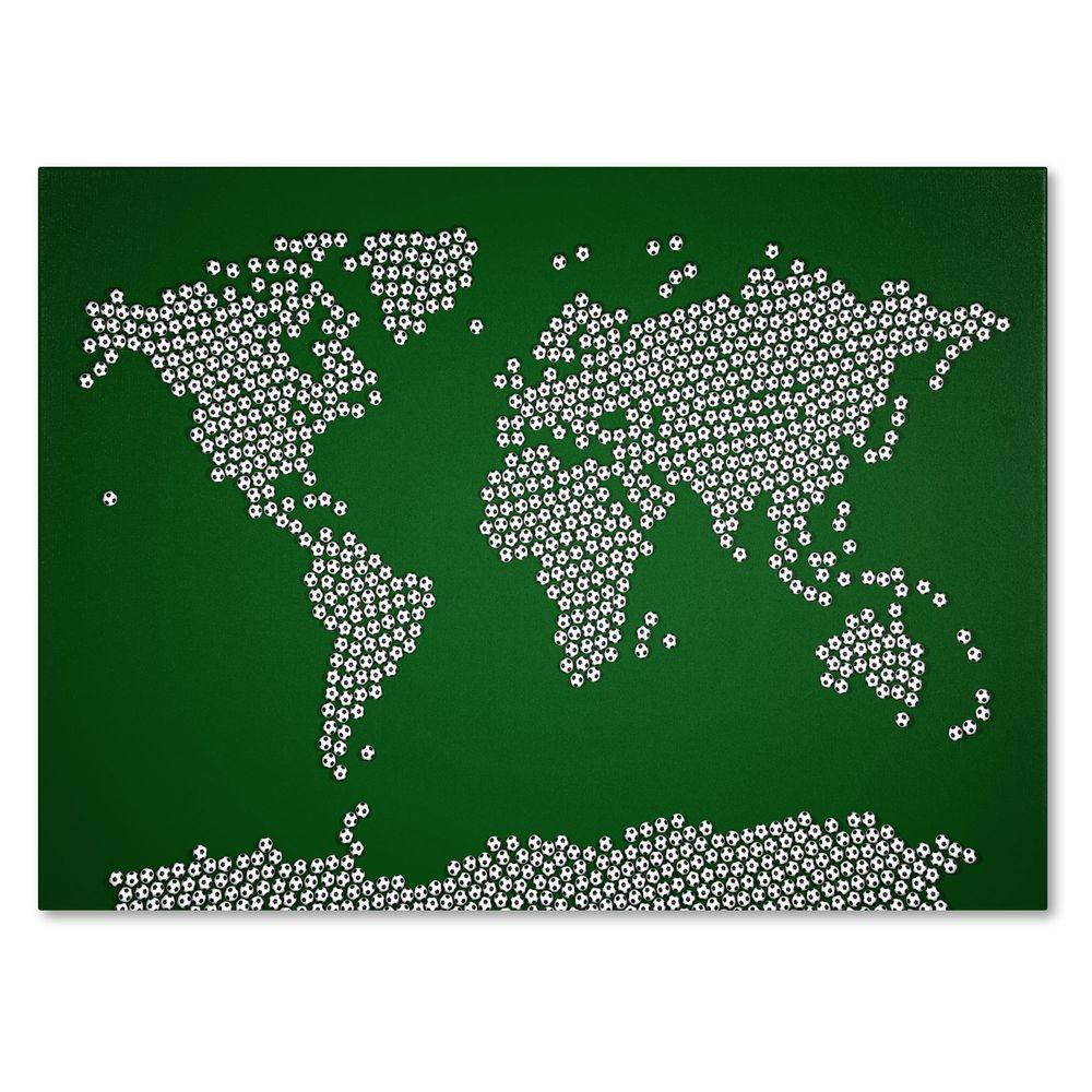 22 in. x 32 in. Soccer Balls World Map Canvas Art