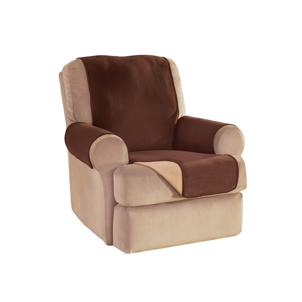 Chocolate Reversible Waterproof Fleece Recliner/Wing Furniture Protector
