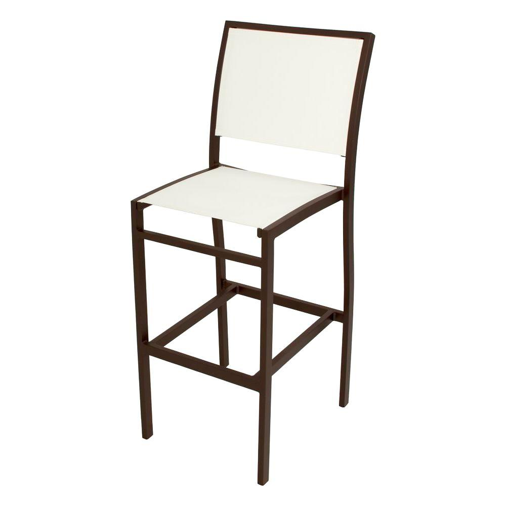 POLYWOOD Bayline Textured Bronze All-Weather Aluminum/Plastic Outdoor Bar Side Chair in White Sling