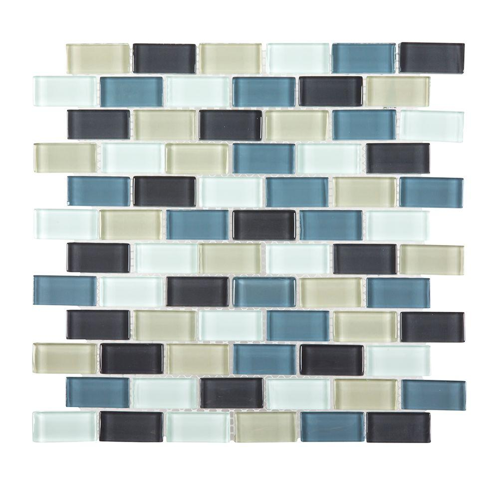 Jeffrey Court Shoreline Brick 12 in. x 12 in. x 8 mm Glass Mosaic Wall Tile