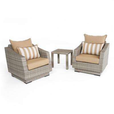 Cannes 3-Piece All-Weather Wicker Patio Club Chairs and Side Table Seating Set with Maxim Beige Cushions