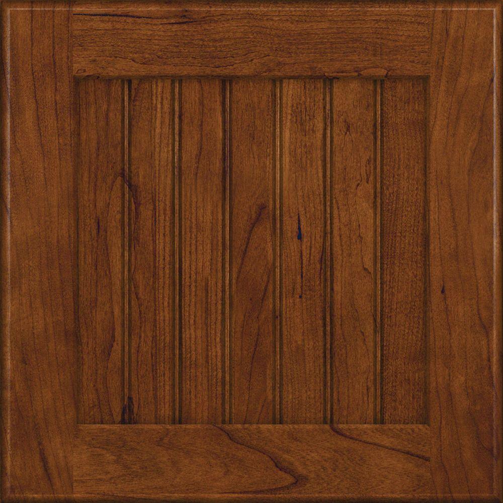 KraftMaid 15x15 in. Cabinet Door Sample in Wilmington Cherry in Cognac