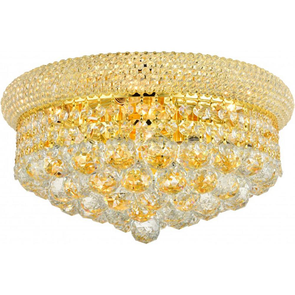 Worldwide Lighting Empire Collection 8-Light Gold and Crystal Flush Mount