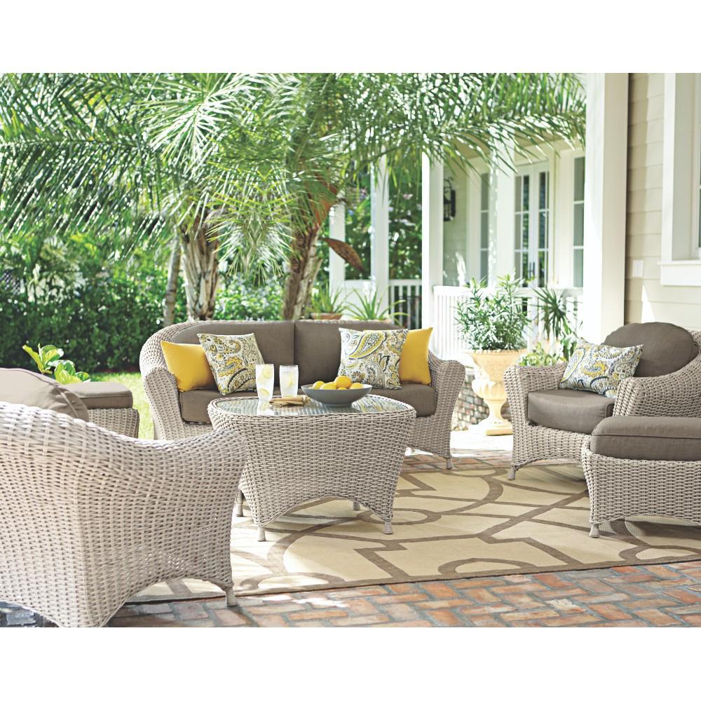Martha Stewart Living Lake Adela Bone 6-Piece Patio Seating Set with Wheat Cushions