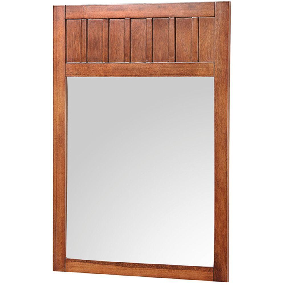 Home Decorators Collection Knoxville 24 in. W x 34 in. H Framed Mirror in Nutmeg