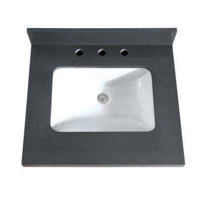 25 in. W x 22 in. D x 1.5 in. H Quartz Vanity Top in Gray