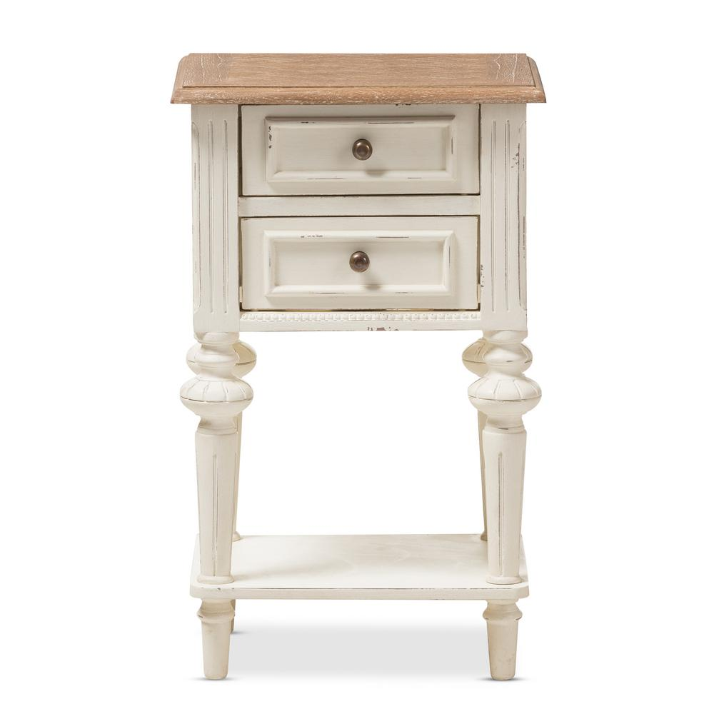 Marquetterie French Provincial White Finished 2-Drawer Nightstand
