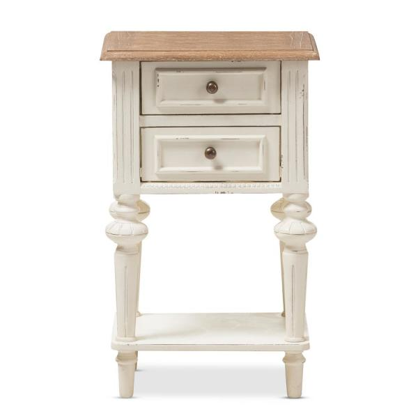 Baxton Studio Marquetterie French Provincial White Finished 2-Drawer Nightstand