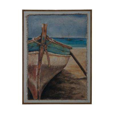 "42 in. x 30 in. ""Beached"" Framed Hand Painted Fabric On Canvas Wall Art"