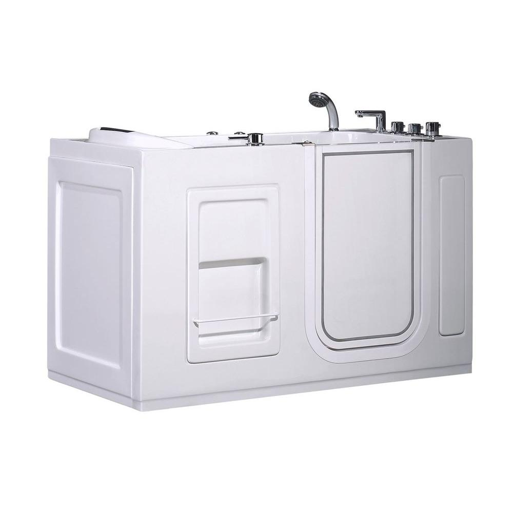 Aston WT623 Right Drain 4.58 ft. Walk-In Whirlpool Bath Tub in White