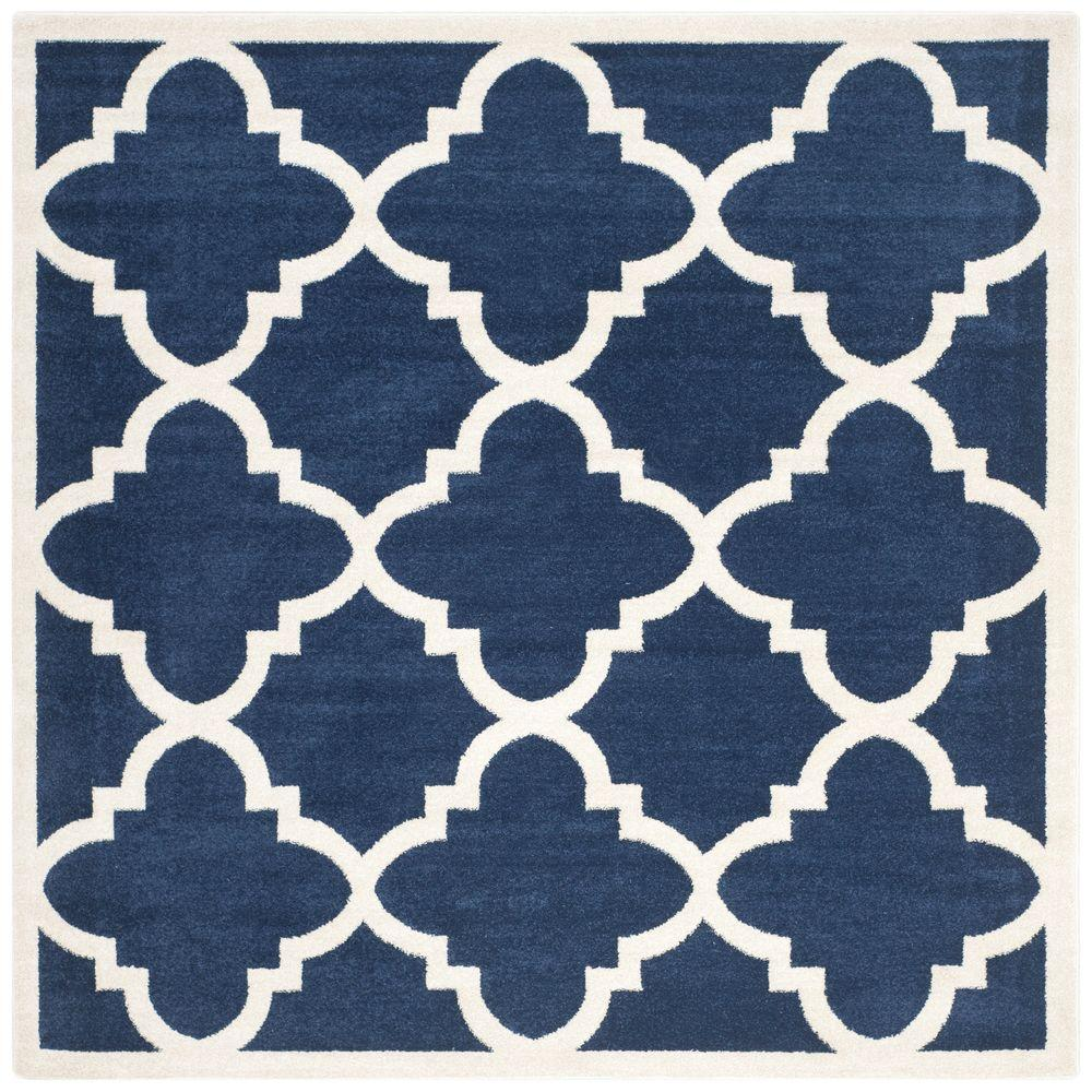 Safavieh Amherst Navy/Beige 7 ft. x 7 ft. Indoor/Outdoor Square Area Rug
