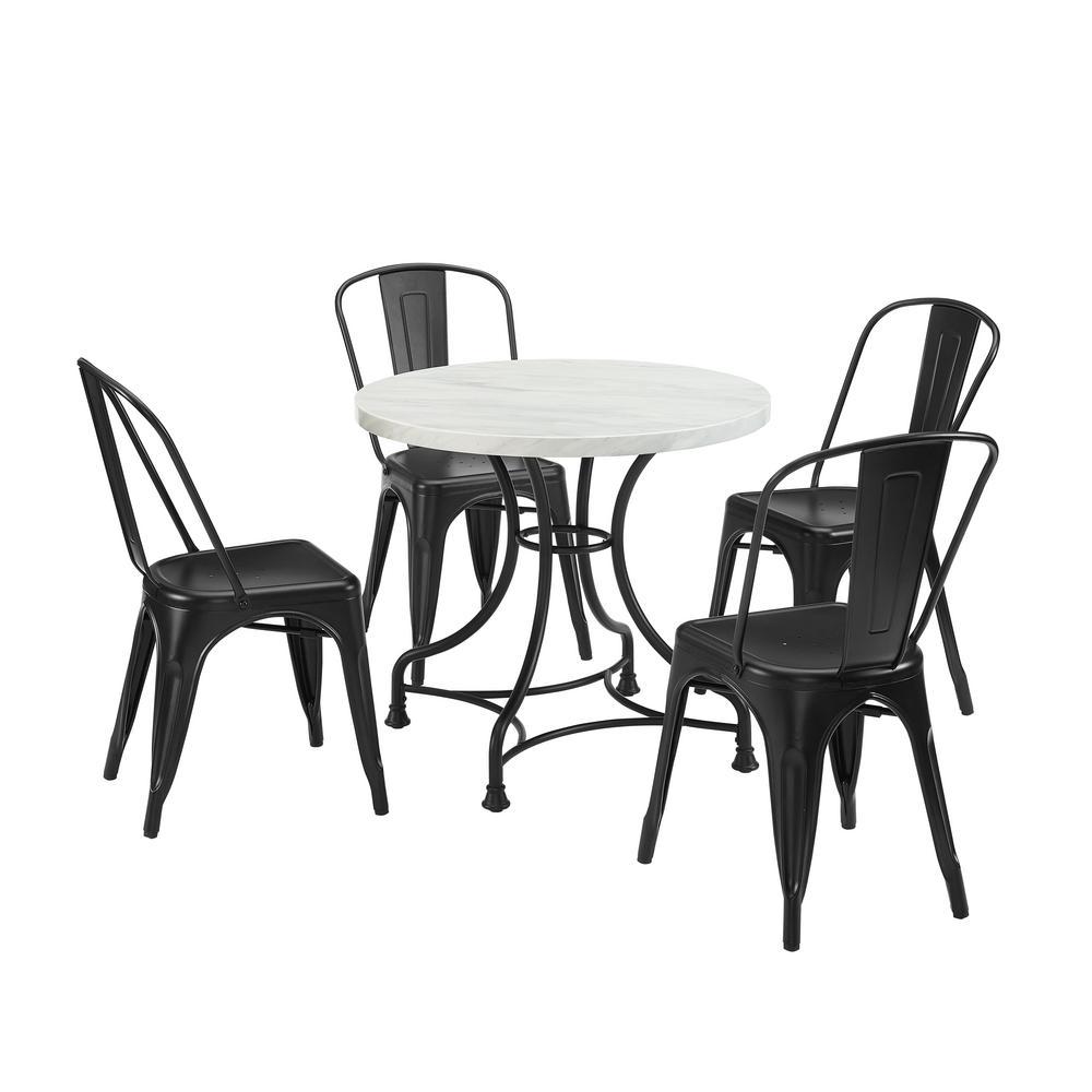 Madeleine 5-Piece Black Dining Set with Amelia Chairs