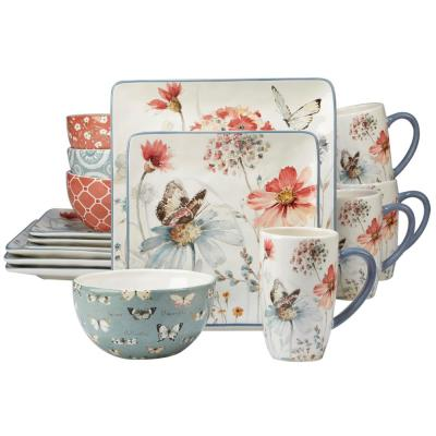 Country Weekend 16-Piece Multi-Colored Dinnerware Set