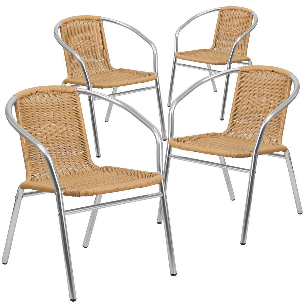 Stackable Metal Outdoor Dining Chair in Aluminum and Beige
