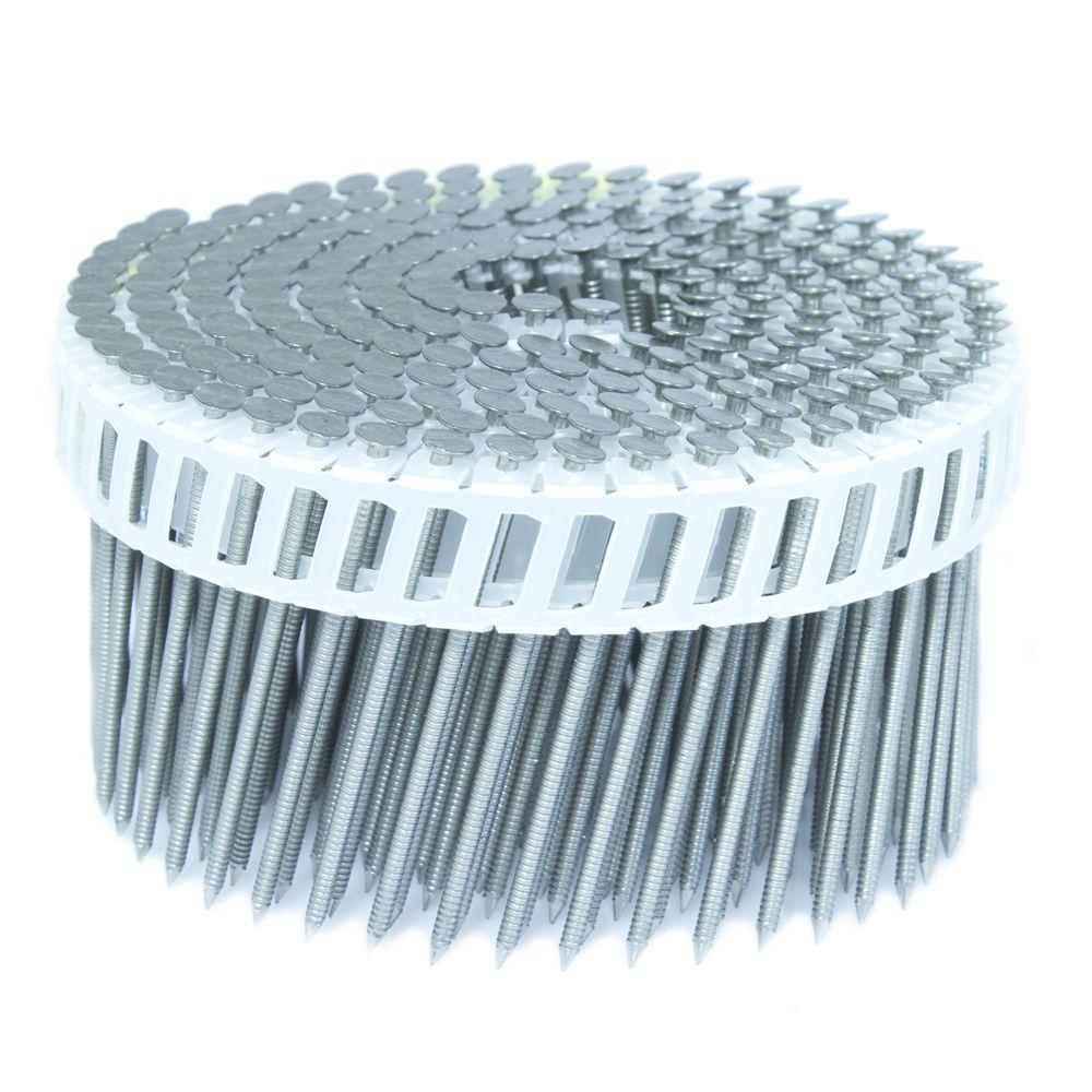FASCO 2.5 in. x 0.092 in. 15-Degree Ring Stainless Plastic Sheet Coil Siding Nail 3,200 per Box