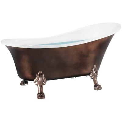60 in. Fiberglass Slipper Clawfoot Non-Whirlpool Bathtub in Matte Antique Brass
