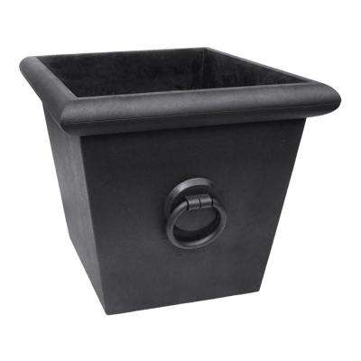 Piazza 22.2 in. x 20 in. Slate Rubber Self-Watering Planter