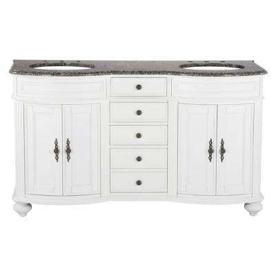 60 in. W x 23 in. D Solid Hardwood Double Vanity in Swiss White with Granite Top in Leopard
