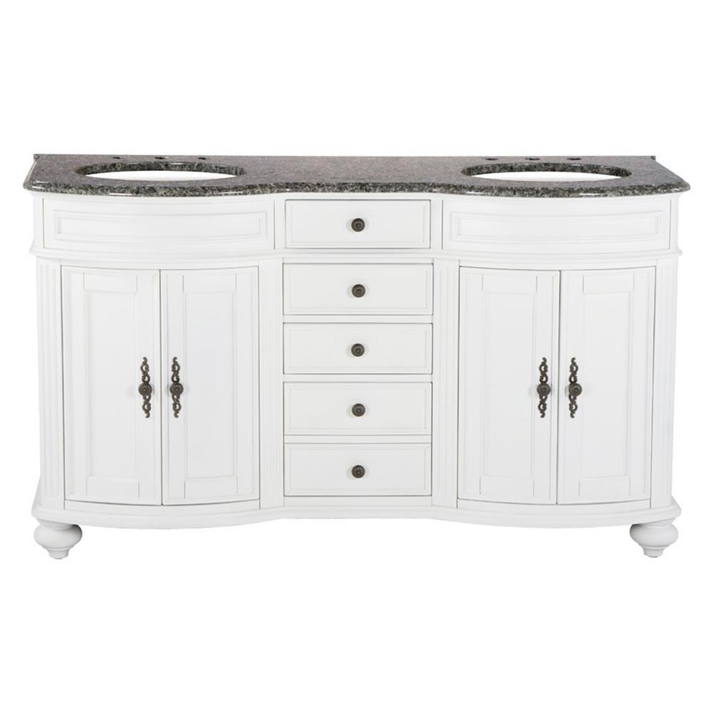 60 in. W x 23 in. D Solid Hardwood Double Vanity in Swiss White with Granite Top in Leopard