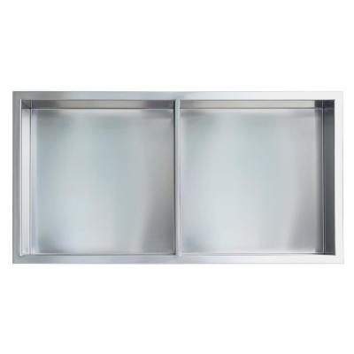 Showroom Series 12 in. x 24 in. SS Niche with Central Shelf in Brushed Chrome