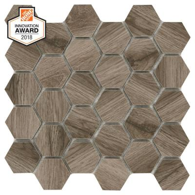 Sierra Wood Hexagon 12 in. x 12 in. x 8mm Glazed Porcelain Mosaic Floor and Wall Tile (0.83 sq. ft. / piece)
