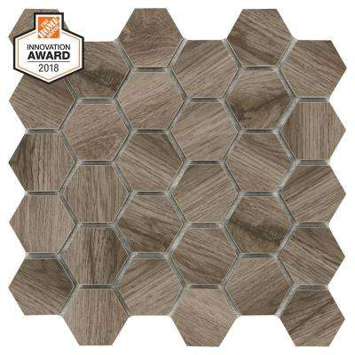 Sierra Wood Hexagon 12 in. x 12 in. x 8mm Glazed Porcelain Mosaic Tile