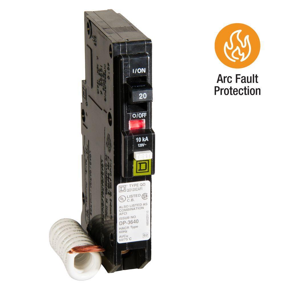 Square D QO 20 Amp Single-Pole Combination Arc Fault Circuit Breaker